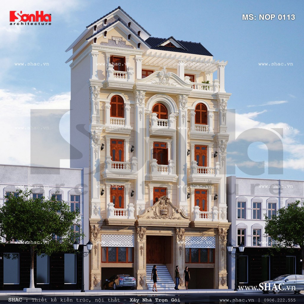 Phối cảnh nhà ống cổ điển kiến trúc Pháp sh nop 0113