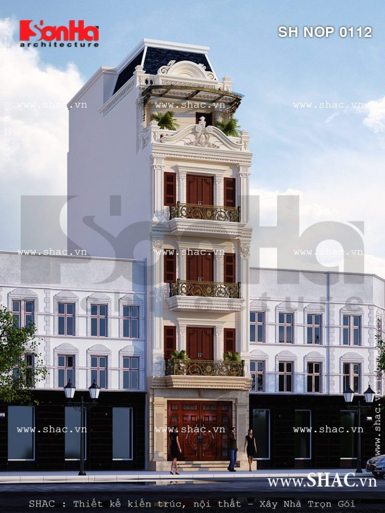 Thiết kế nhà ống kiến trúc cổ điển Pháp sh nop 0112