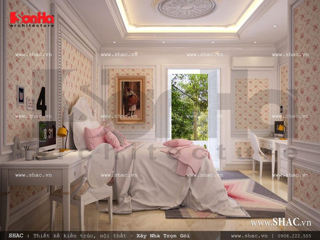 Mẫu nội thất phòng ngủ kiểu pháp dành cho con gái còn có khu học tập riêng, gần ban công và cửa sổ tạo sự thông thoáng nhất.