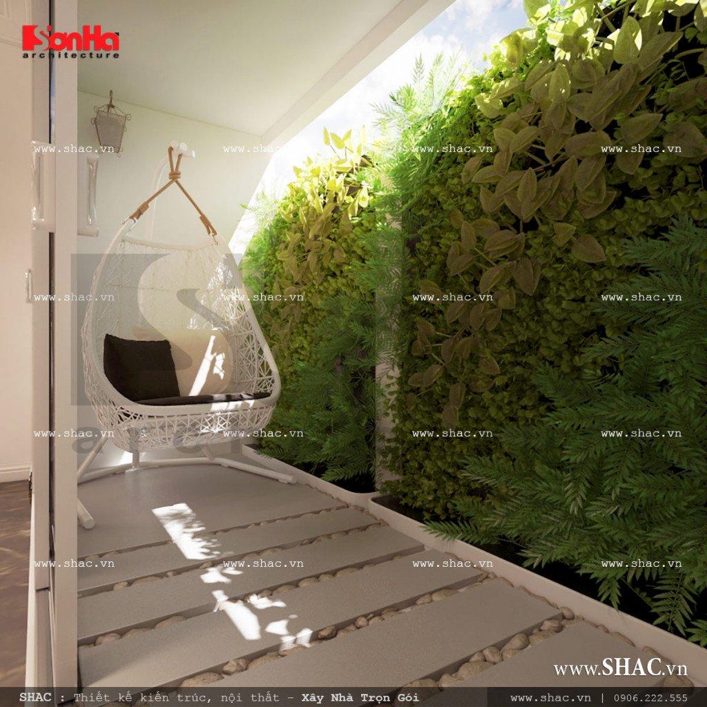 Thiết kế tiểu cảnh sân vườn nhà ống Pháp sh nop 0110