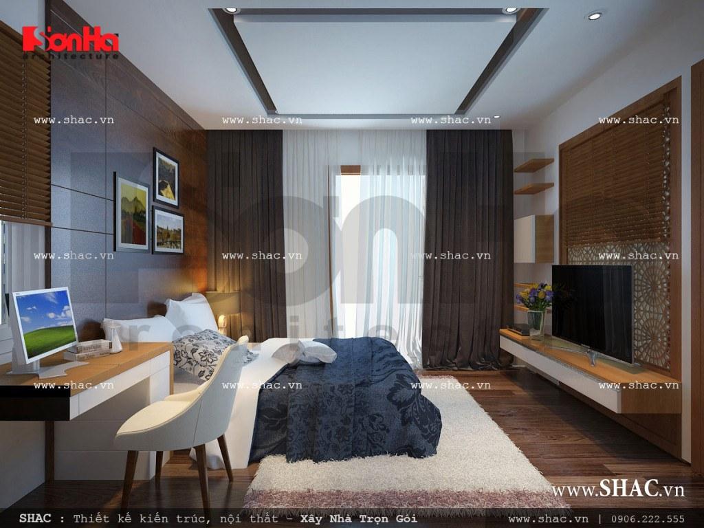 Mẫu thiết kế nội thất phòng ngủ 3 trẻ trung nhà ống cổ điển sh nop 0113