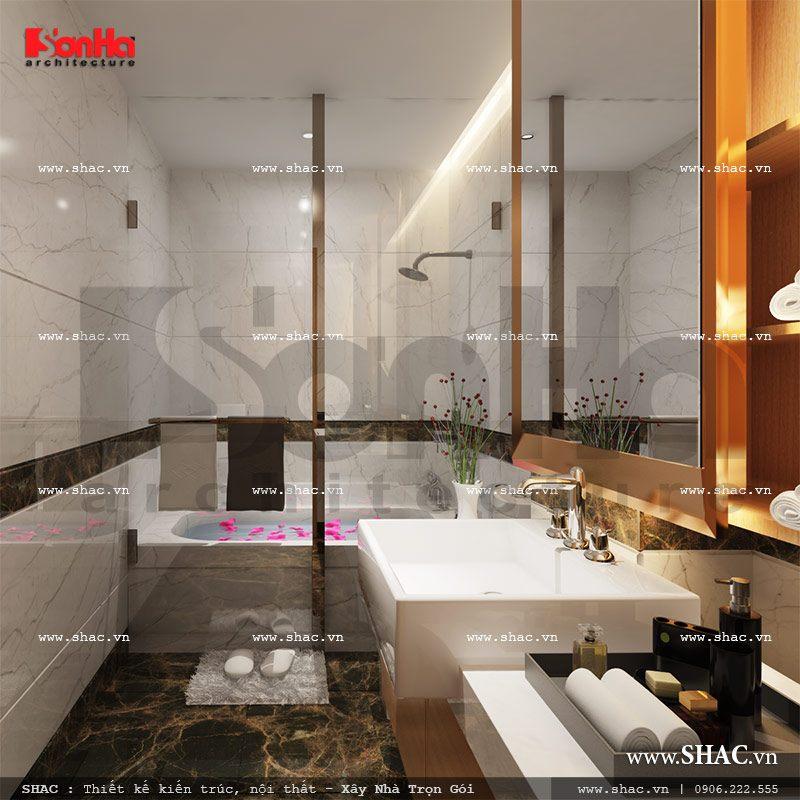 Thiết kế phòng tắm wc phòng ngủ 1 view1 khách sạn mini cổ điển đẹp sh ks 0027