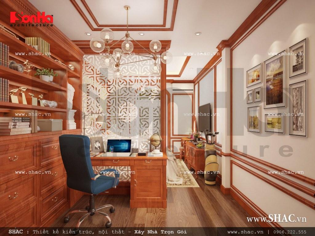 Thiết kế nội thất phòng ngủ kết hợp phòng làm việc cổ điển sh nop 0110