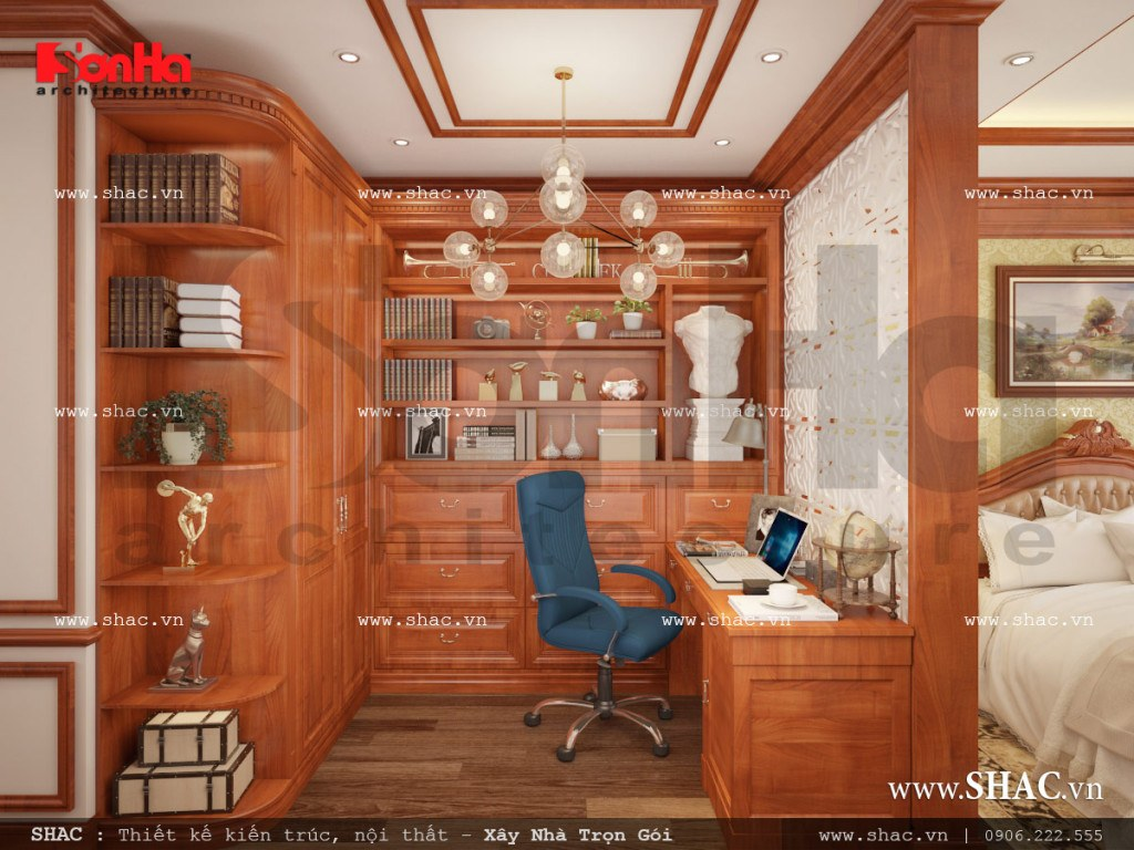Mẫu nội thất phòng ngủ kết hợp phòng làm việc cổ điển đẳng cấp sh nop 0110