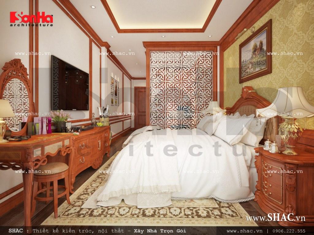 Thiết kế nội thất phòng ngủ kết hợp phòng làm việc cổ điển Pháp sh nop 0110