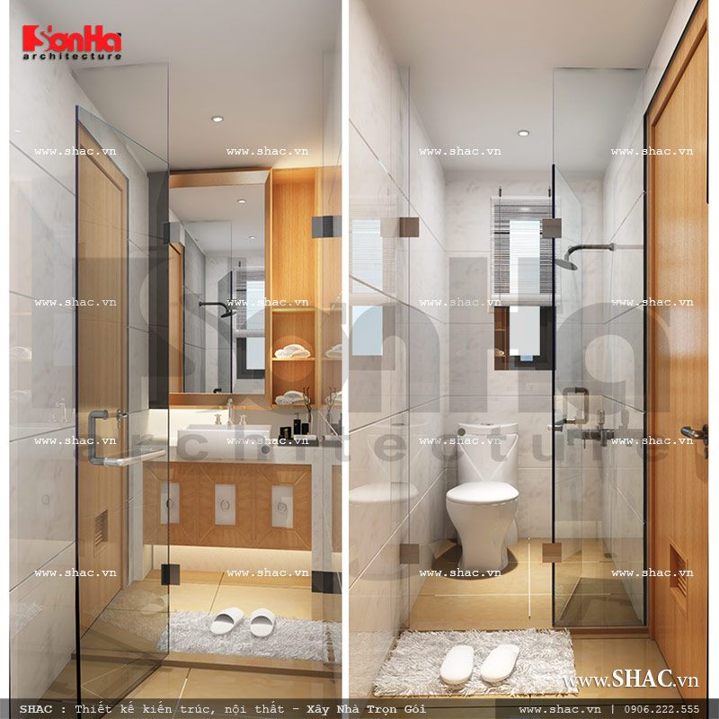 Thiết kế nội thất phòng tắm phòng ngủ 2 khách sạn mini cổ điển đẹp sh ks 0027