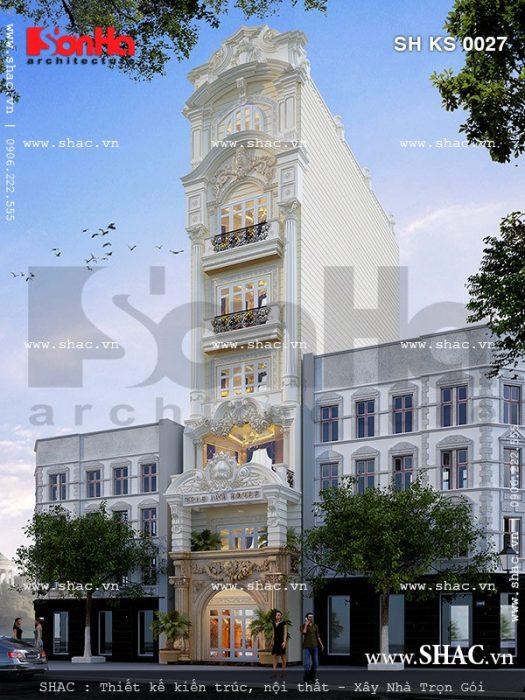 Mẫu thiết kế khách sạn mini kiến trúc cổ điển Pháp sh ks 0027