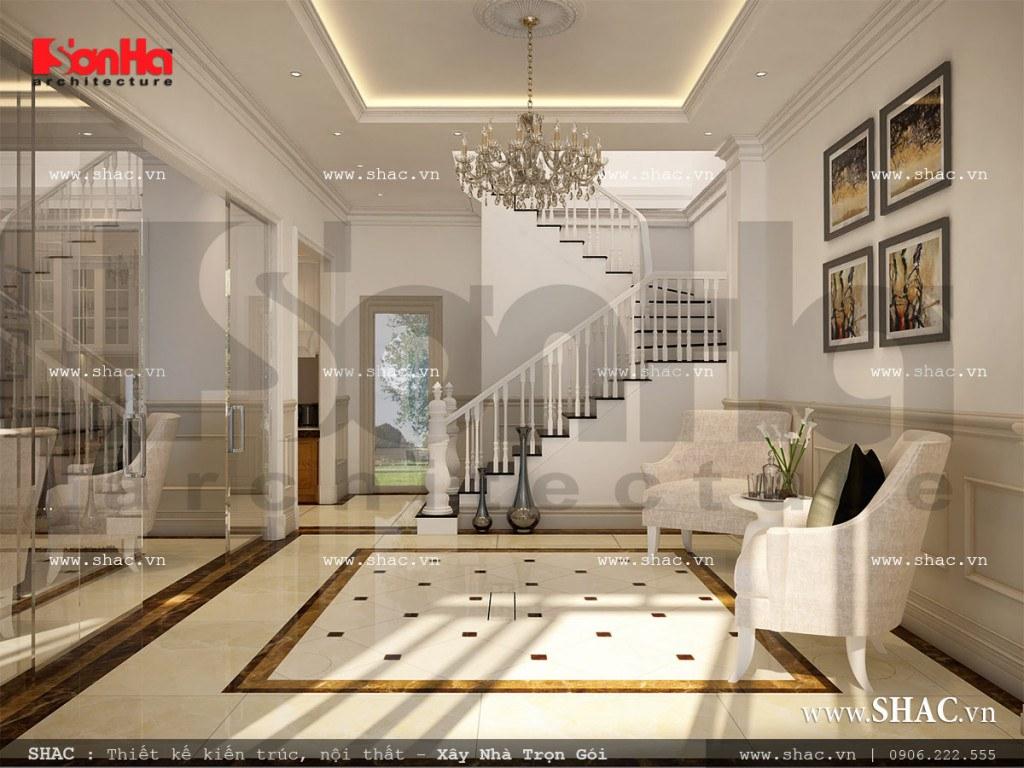 Thiết kế phần sảnh của tầng 1 được trang bị vật dụng tiện nghi với ghế sofa nhỏ đáp ứng nhu cầu sinh hoạt mà gia chủ đưa ra