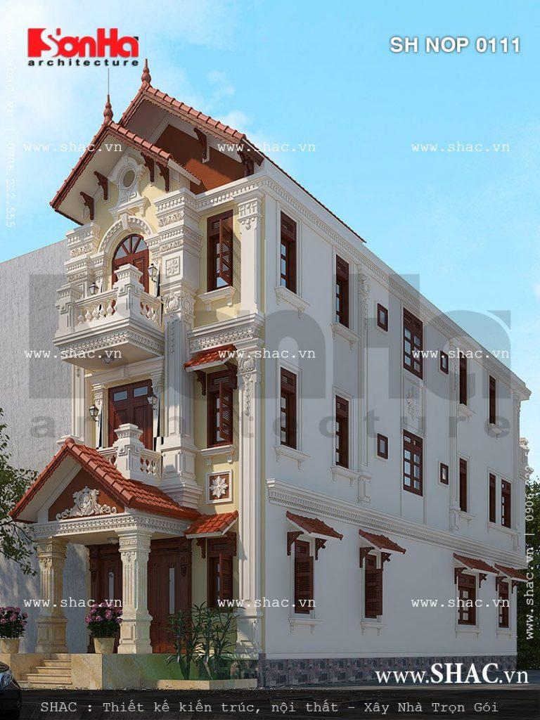 Thiết kế nhà phố kiến trúc Pháp sang trọng sh nop 0111