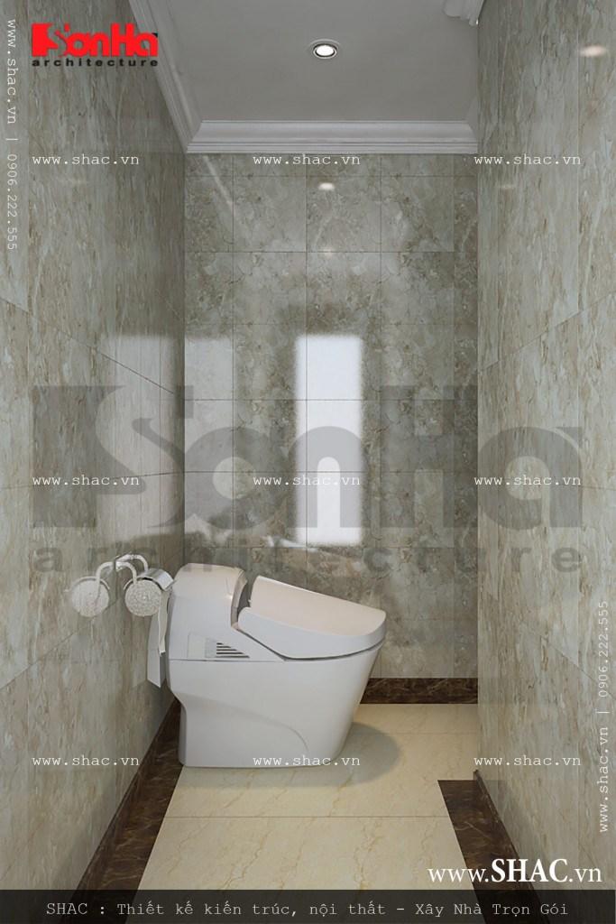 Phòng vệ sinh nhỏ tại tầng 1 của ngôi biệt thự phục vụ nhu cầu sinh hoạt tiện lợi