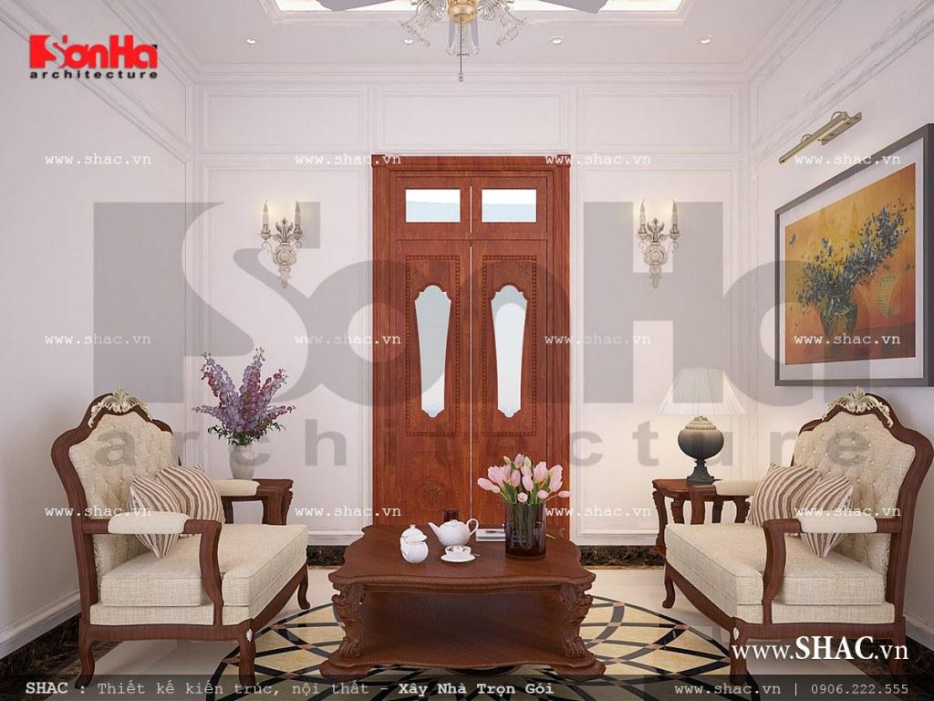 Mẫu thiết kế nội thất phòng sinh hoạt chung nhà ống cổ điển sh nop 0113