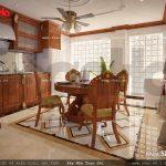 Thiết kế nội thất phòng bếp tầng 5 nhà ống cổ điển sh nop 0113