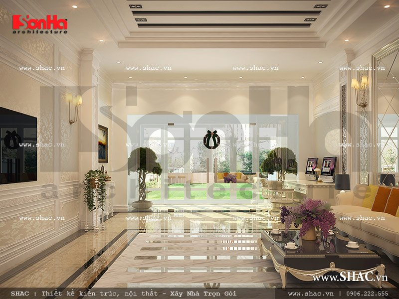 Thiết kế sảnh khách sạn mini cổ điển sang trọng sh ks 0027