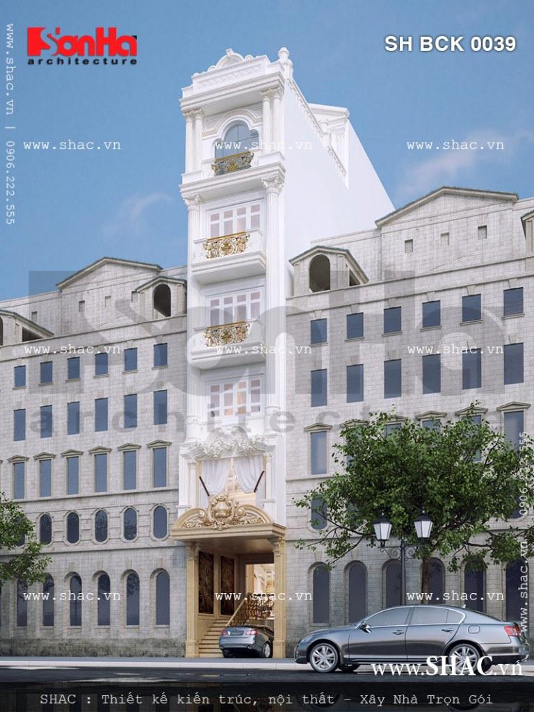 Mẫu thiết kế nhà hàng kiến trúc cổ điển Pháp sh bck 0039