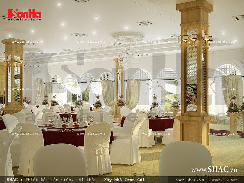 Mẫu thiết kế nội thất hội trường tiệc cưới nhà hàng đẹp khu 1 tầng tại Gia Lai sh bck 0041