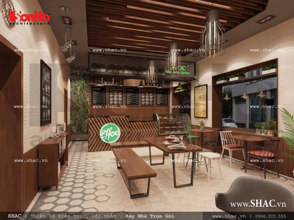 Mẫu thiết kế nội thất phòng 1 quán cafe đẹp sh bck 0040