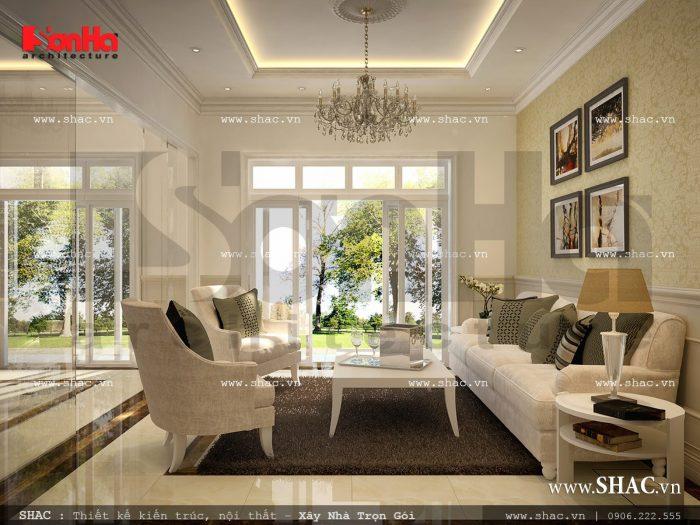 Nội thất phòng khách đẹp của biệt thự Pháp tại Nghệ An được thực hiện theo lối thiết kế mở