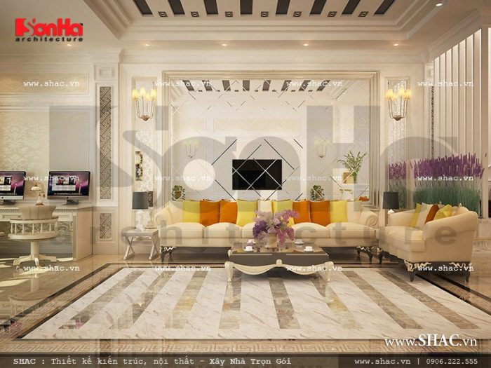 Căn phòng tiếp khách lịch thiệp và trang trọng với không gian lớn của khách sạn