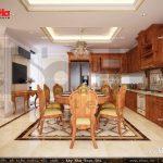 Mẫu thiết kế nội thất phòng bếp vật liệu gỗ nhà ống cổ điển sh nop 0113