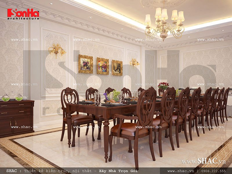 Mẫu thiết kế nội thất phòng ăn VIP 1 nhà hàng đẹp 2 tầng sh bck 0042