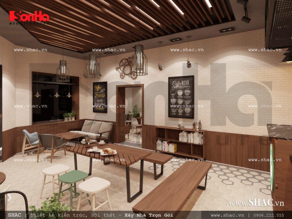 Thiết kế nội thất phòng 1 quán cafe đẹp sh bck 0040
