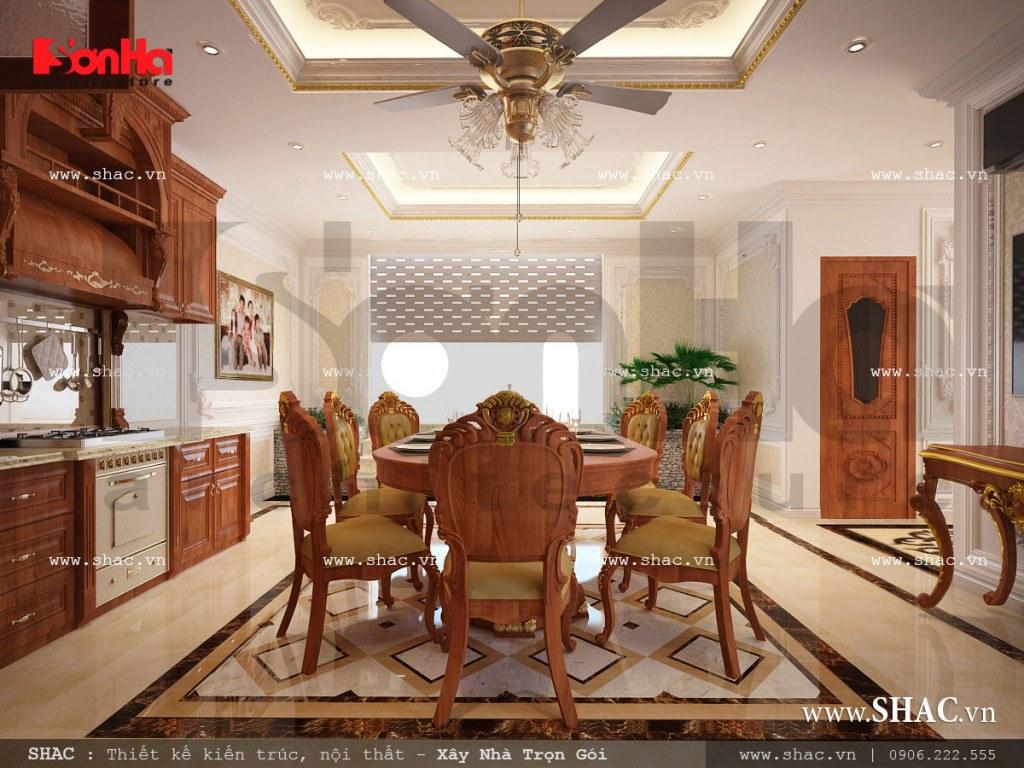 Thiết kế nội thất phòng bếp vật liệu gỗ nhà ống cổ điển sh nop 0113