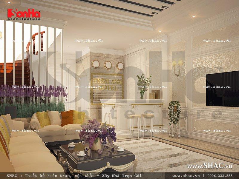 Thiết kế quầy lễ tân khách sạn mini cổ điển sang trọng sh ks 0027