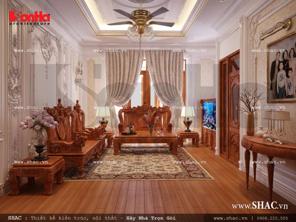 Phòng khách cổ điển biệt thự