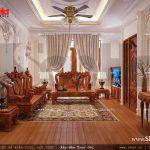 Mẫu thiết kế nội thất phòng khách sang trọng nhà ống cổ điển sh nop 0113