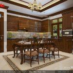 Thiết kế nội thất phòng bếp cổ điển vật liệu gỗ sh nop 0111