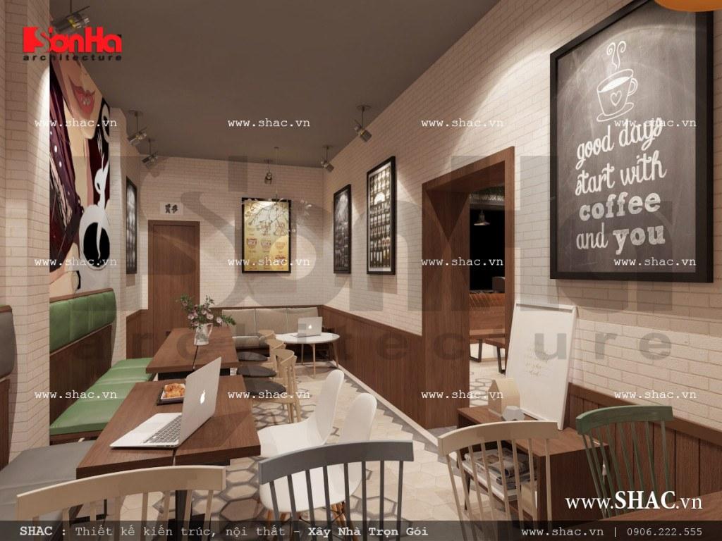 Mẫu thiết kế nội thất phòng 2 quán cafe đẹp sh bck 0040