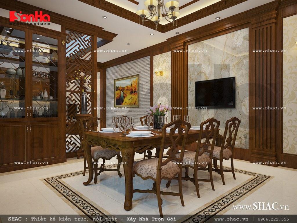 Mẫu nội thất phòng bếp ăn cổ điển vật liệu gỗ sang trọng sh nop 0111
