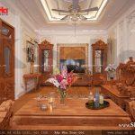 Thiết kế nội thấy phòng khách sang trọng vật liệu gỗ nhà ống cổ điển sh nop 0113