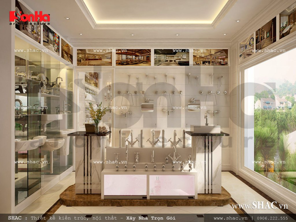 Tầng 2 của biệt thự cổ điển được KTS Sơn Hà và chủ đầu tư thống nhất sử dụng làm khu trưng bày sản phẩm phục vụ mục đích kinh doanh