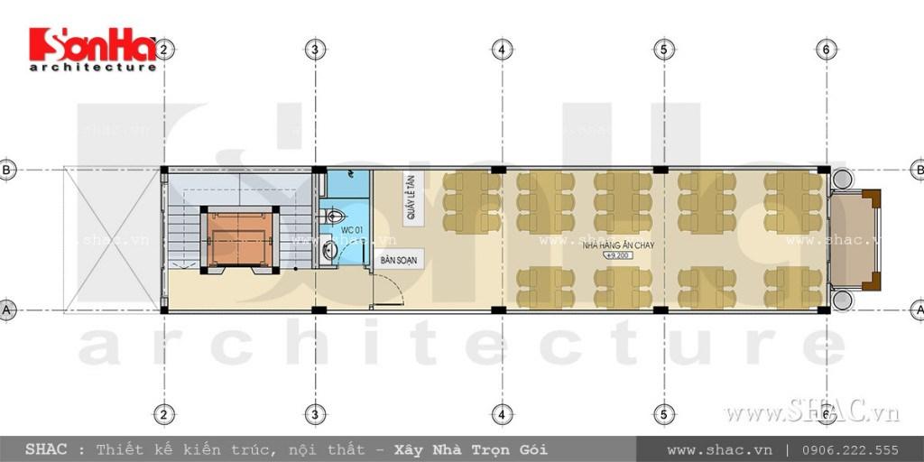 Mặt bằng tầng 3 nhà hàng cổ điển sang trọng sh bck 0039