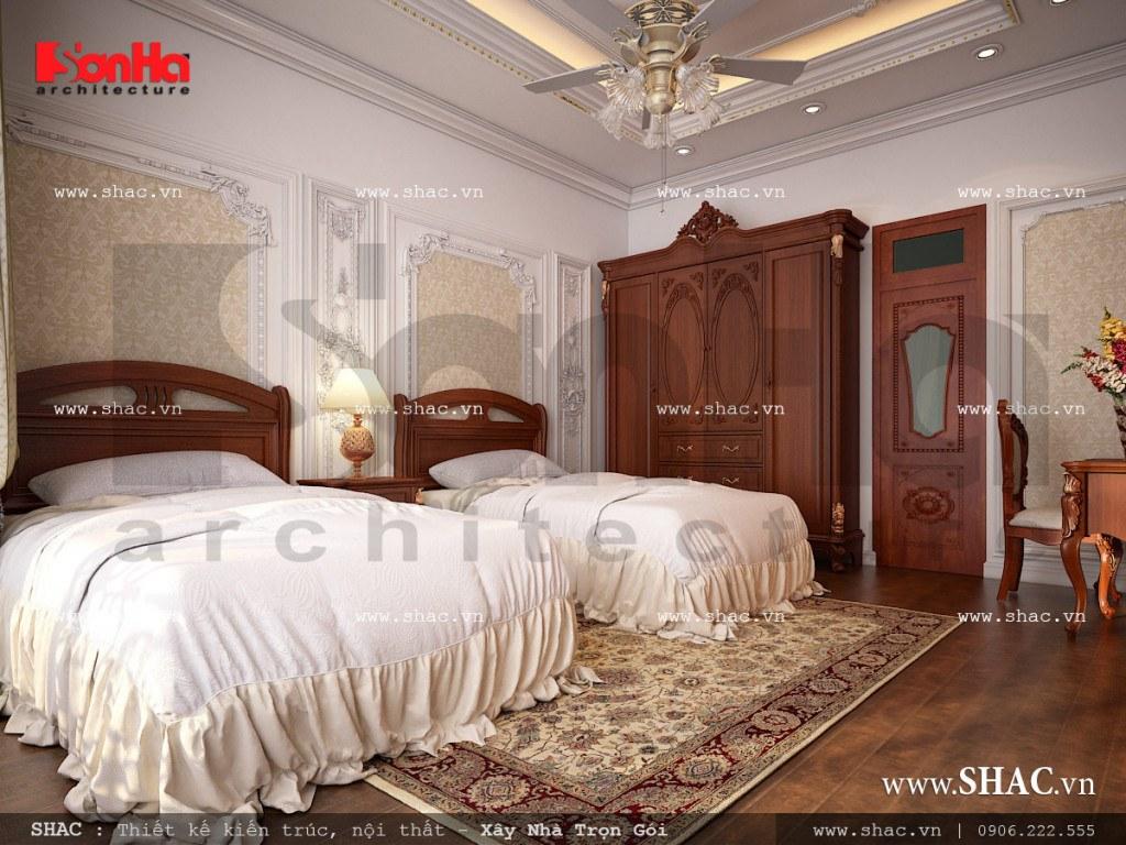 Mẫu thiết kế nội thất phòng ngủ 1 vật liệu gỗ nhà ống cổ điển sh nop 0113