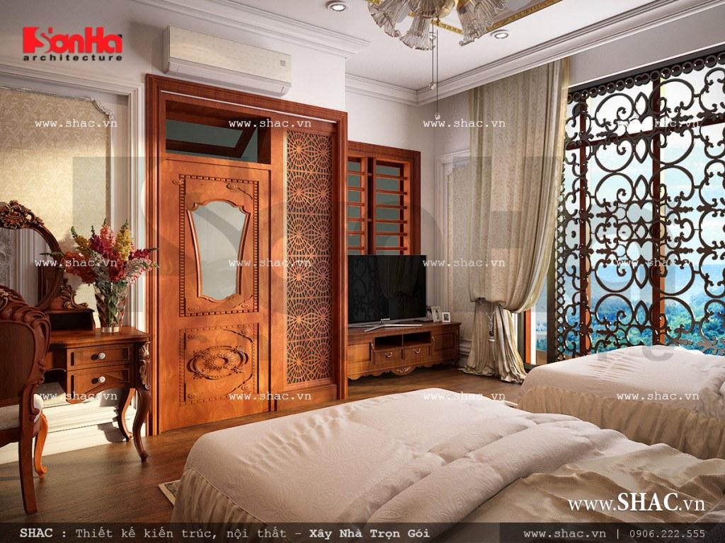 Thiết kế nội thất phòng ngủ 1 vật liệu gỗ nhà ống cổ điển sh nop 0113