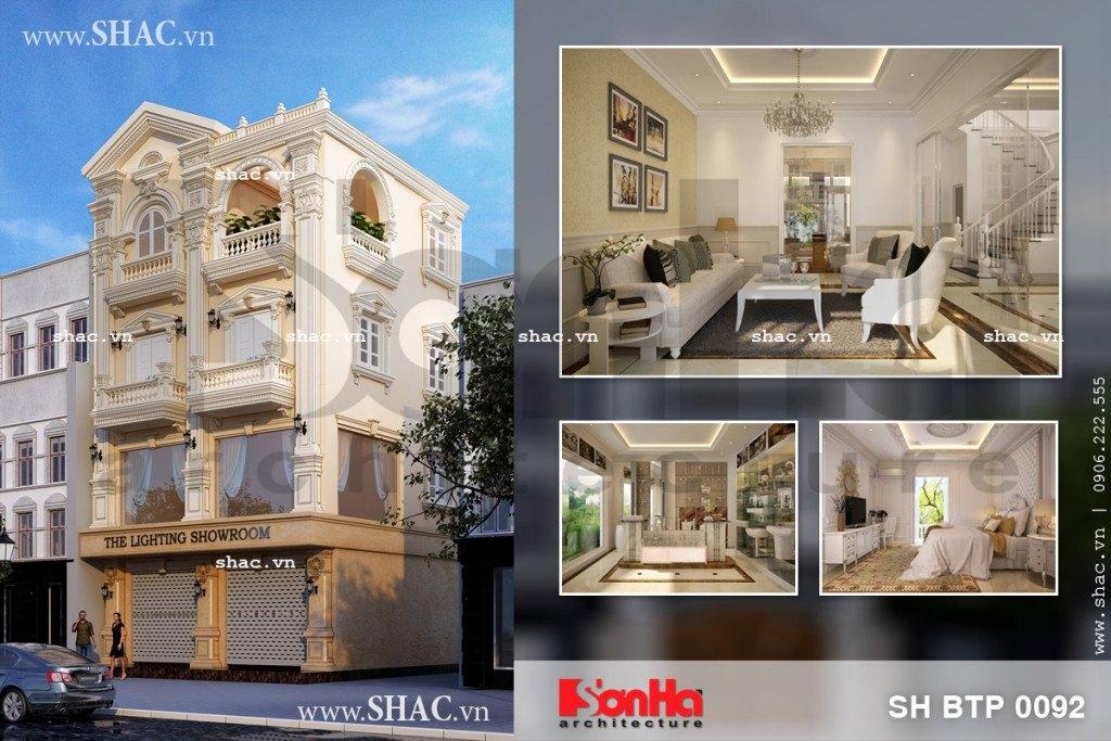 Phương án thiết kế kiến trúc và nội thất biệt thự kiến trúc Pháp 4 tầng kết hợp showroom tại TP.HCM