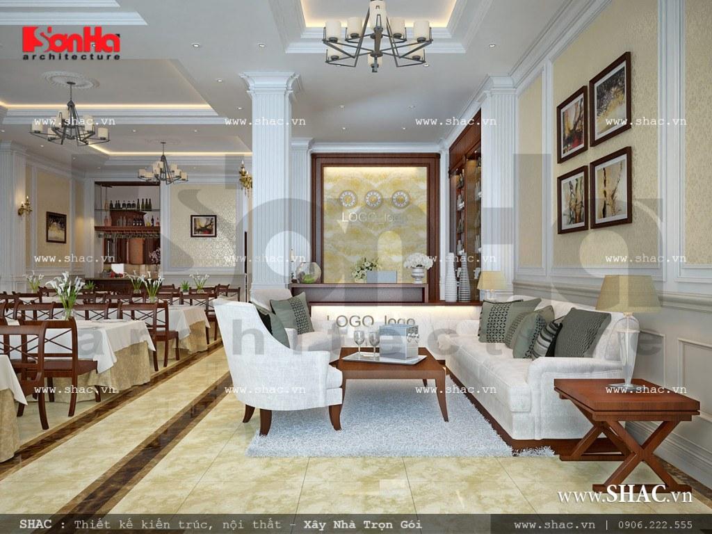 Khu phòng ăn kết hợp quầy lễ tân khách sạn cổ điển Pháp sh ks 0026