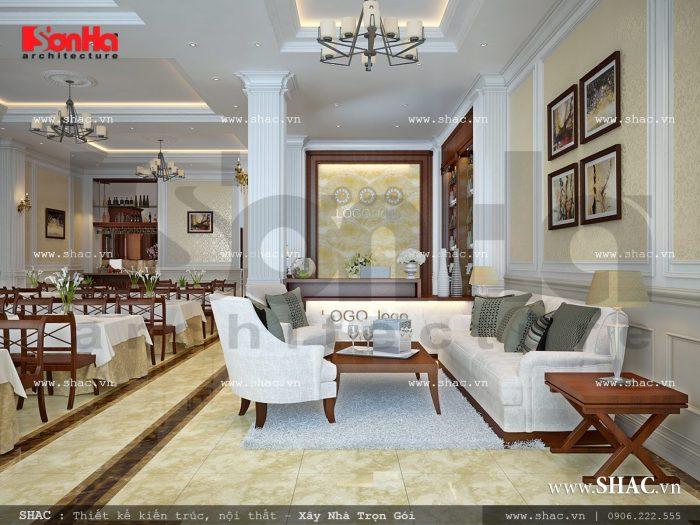Yếu tố ngăn nắp, khoa học của nội thất phòng ăn khiến Quý khách hàng càng hài lòng và đánh giá cao về dịch vụ của khách sạn 3 sao này
