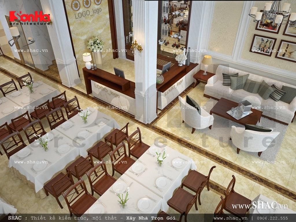 Khu phòng ăn kết hợp quầy lễ tân khách sạn sh ks 0026