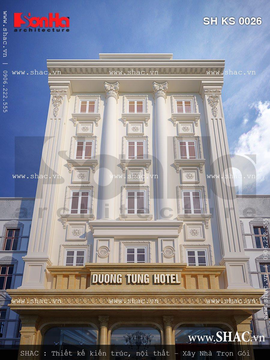 Kiến trúc mặt tiền đẹp của khách sạn phong cách cổ điển được thiết kế ấn tượng tại Quảng Ninh