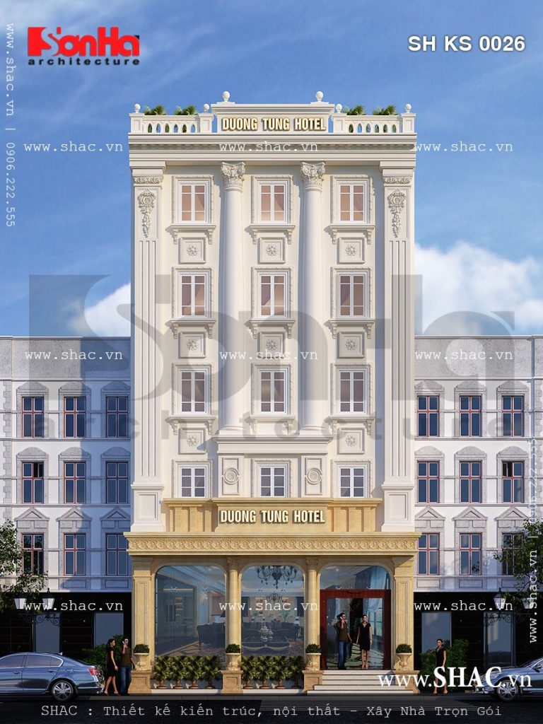 Mẫu khách sạn kiến trúc Pháp cổ điển đẳng cấp sh ks 0026