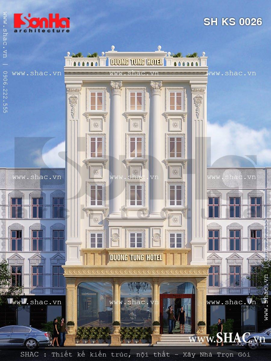 Mẫu khách sạn kiến trúc Pháp cổ điển đẳng cấp 3 sao thương hiệu SHAC điển hình của năm 2017