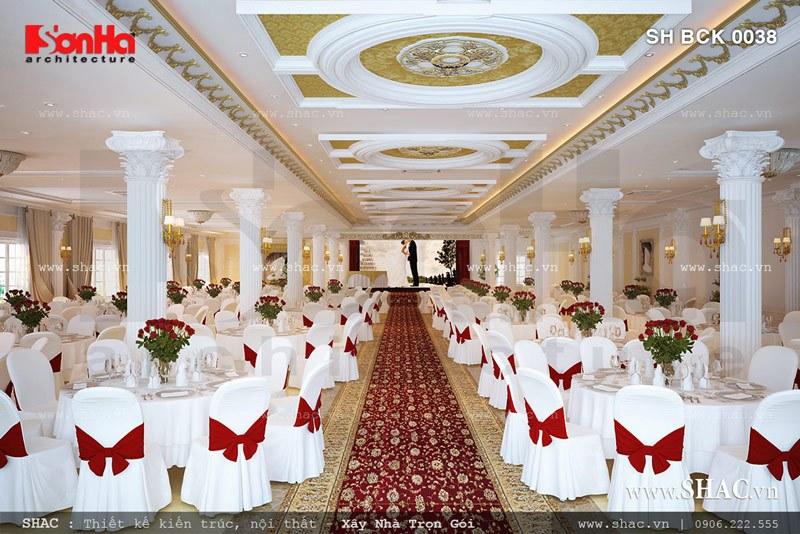 Mẫu nội thất phòng tiệc cưới nhà hàng sang trọng SH BCK 0038