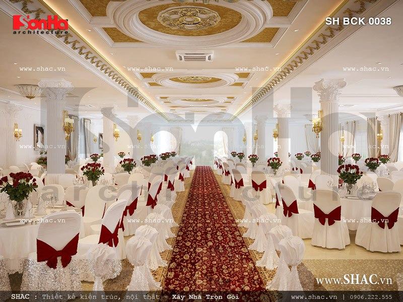Mẫu nội thất phòng tiệc cưới tầng 2 nhà hàng sang trọng SH BCK 0038