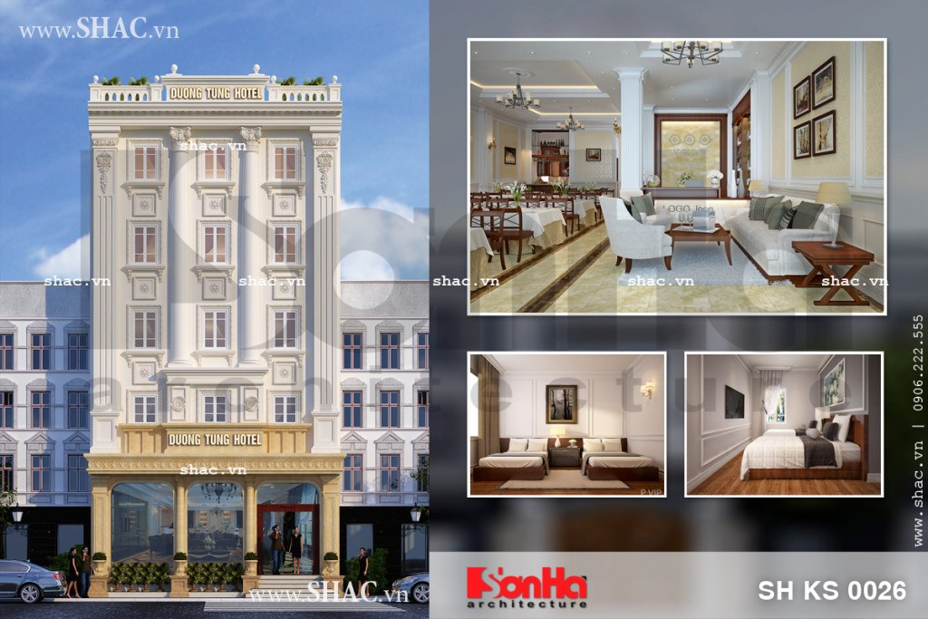 Mẫu thiết kế khách sạn cổ điển Pháp đẳng cấp tại Quảng Ninh sh ks 0026