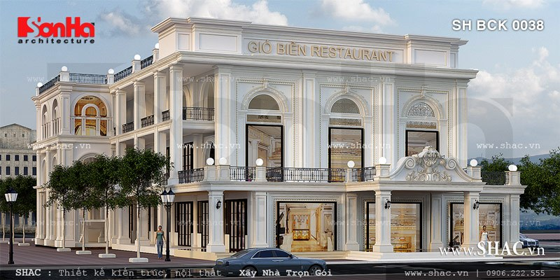 Mẫu thiết kế nhà hàng sang trọng trong kiến trúc Pháp SH BCK 0038