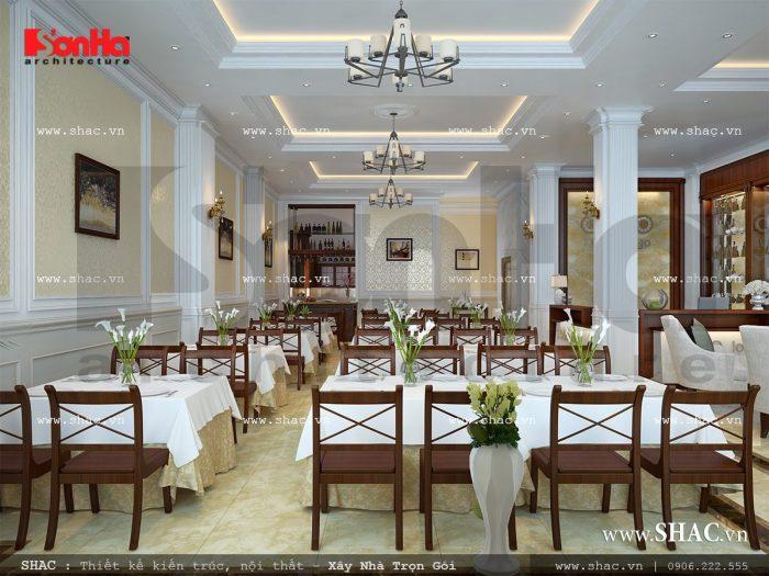 Thiết kế nội thất phòng ăn của khách sạn 3 sao tiện nghi với màu sắc trang nhã
