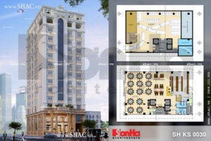 Phối cảnh thiết kế kiến trúc khách sạn 3 sao 12 tầng đẹp tại Quảng Ninh sh ks 0030
